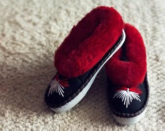 Red sheepskin slippers