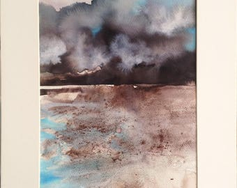 Storm - Ink and pigments on paper. Original painting, abstract landscape. With carboard. Contemporary art.