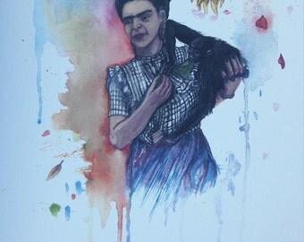 Frida Kahlo original art print. A4.