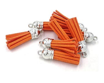 Small Tassels - 10 Orange, Small Tassel Charms with Silver Caps - Tassels for Jewelry, Purse Tassel, Key Chain Tassel, Wine Charms - TC-S053