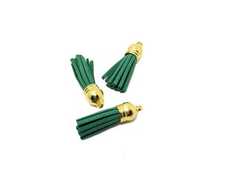 Tassels - Small Tassels - 10 Green Tassels, Gold Cap - Tassel Charms - Tassels For Jewelry - Key chain Tassel - Wine Charm Tassels - TC-G141