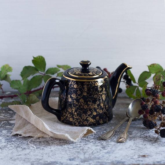 Little French Black & Gold Garden Teapot