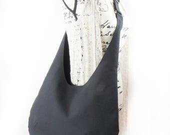 Black Denim Cross body Hobo Bag Purse, Adjustable Strap Over The Shoulder Bag,  Boho Hippie bag.