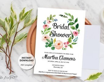 Editable Bridal Shower Invitation, Printable Template, Instant Download, Editable Text, Bridal Brunch Invite, Floral Wreath Invite (Martha)