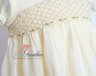 Beautiful Cream/Ivory Christening or Special Occasion baby dress with hand smocking and embroidery - size 6-9 months