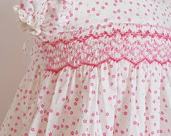 Gorgeous pink floral cotton hand smocked baby dress - size 6-9 months