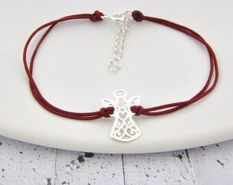 Sterling Silver Angel string bracelet, little Angel, Angel pendant, Angel charm, little Angel, Guardian angel, string bracelet, Everyday