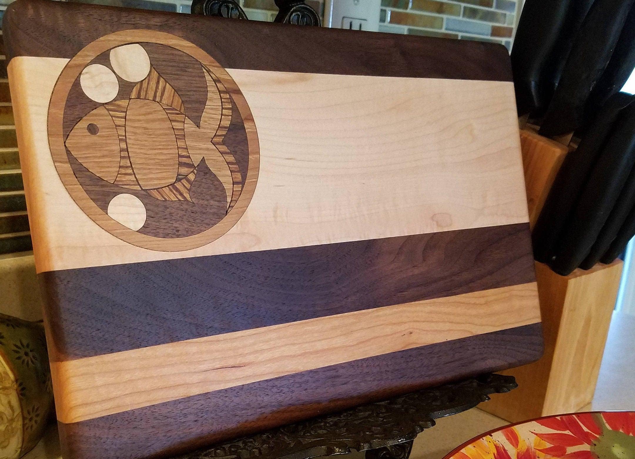 Fish wood inlay cutting board small 8 1 2 x 12 x for Fish cutting board