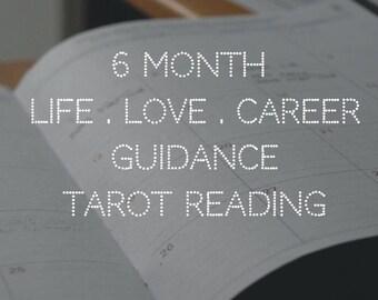 6 Month Tarot Reading // Life Love Career Tarot Reading // 6 Card Tarot Reading // 1 Card Per Month // FREE Instant Download