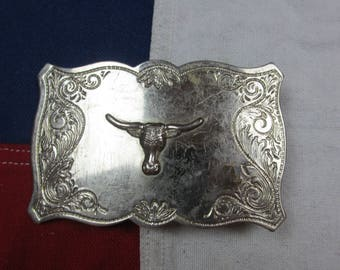 Vintage 1980's Bull Head Belt Buckle Longhorn Steer Cattle Texas Cowboy Rodeo Tin