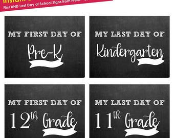 first day of school sign instant download- Back to School Sign- Printable First Day of School Sign ALL Grades w NO DATES- chalkboard sign