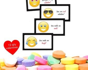 12 Classroom Valentines- School Valentines- Smiley Valentines- Kids Valentines Day Cards- Kids Valentines- Kids Valentine- Funny Valentines