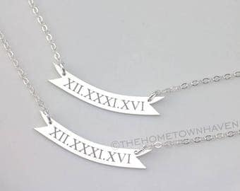 Roman Numeral Necklace - Sterling Silver curved bar necklace, nameplate necklace, banner necklace