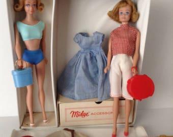 Two Vintage Midge Dolls - Clothes - Accessories - Carry Case