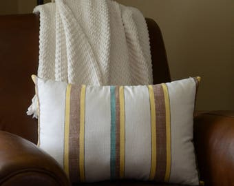Beachy Striped Linen Pillow