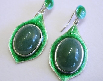 Silver Earrings, Enamelled Earrings, Enamelled Silver Earrings, Enamelled Jewels