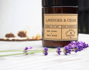 LAVENDER & CEDARWOOD   100% Pure Essential Oil Soy Wax Candle / Vegan Candle / Scented Candle / Apothecary Candle / Gift Ideas - 180ml