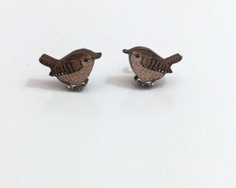 Wooden Wren Earrings