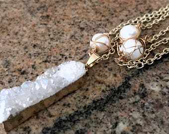 White Druzy Necklace, White Pearl Necklace, Gold Druzy Necklace, Gold Pearl Necklace, Wire Wrap Pearl, Long Druzy Necklace, White Gemstone