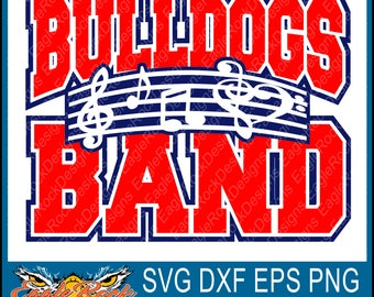 Bulldogs Band| Music Notes| SVG| DXF| EPS| Png| Cut File| Bulldogs| Band| Mom| Dad| Vector| Silhouette| Cricut| Digital Download