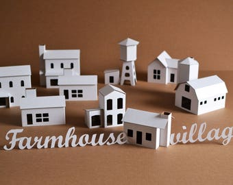 DIY Pack of 11 Putz style glitter FARMHOUSE VILLAGE houses Unassembled corrugated cardboard houses. Make your own decorative house village