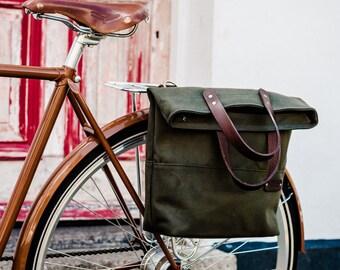 Bike Pannier / Canvas Tote Pannier Bag / Single Pannier / Bike Bag /  Cycle  Bag / Bicycle Bag / Pannier Bag