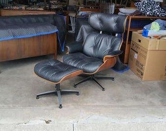 Vintage 1960's Plycraft Leather Lounge Chair & Ottoman Molded Walnut Shell Mid Century Modern Eames Style Excellent Quality MCM