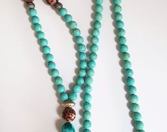Turquoise Riverstone & Coffee Jasper Tassel Necklace