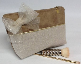 Make-up bow/pouch makeup suede fabric and camel sequin glitter gold/bow/pouch gold/jewelry pouch