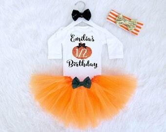 Half Birthday Outfit. Fall Baby Girl's Half Birthday Outfit. 1/2 Birthday Bodysuit. Half Birthday Pumpkin Outfit. Fall Baby Birthday Outfit.