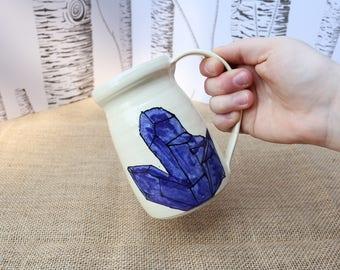 Tall Blue Crystal Mug