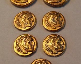 Ancient Coin Copies Goldtone 7 Total