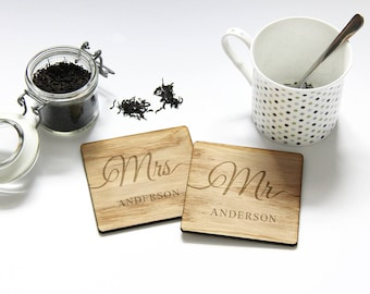 Wedding Gift, Mr and Mrs Gift, PERSONALISED Wooden Coasters, Gift for Bride and Groom, 5th Anniversary Gift