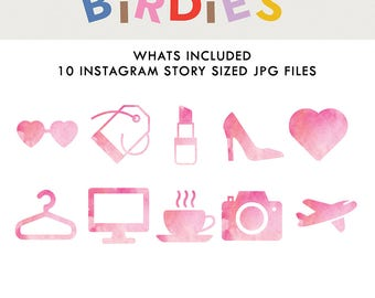 Set of 10 Instagram Highlight Icons in Pink Watercolor