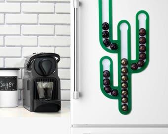 Green Cactus Nespresso Capsule Coffee Pod Holder, Wall Mount Storage, Coffee Storage Magnet, Succulent Gift, Succulent Decor, Cactus decor