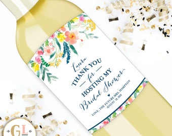 Wine Label Hostess Gift, Floral Thank You Champagne Label, Personalized Bridal Shower Hostess Gift, Baby Shower Hostess Gift, Thank You Wine