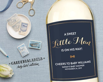 Baby Shower Wine Label, Little Man Baby Shower Decor, Baby Boy Shower Favors, She's About to Pop, Baby Sprinkle Decor, Bow Tie Baby Shower
