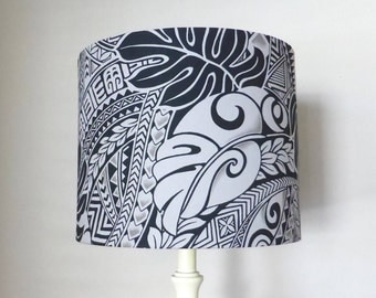 Tapa Design Lampshade | Polynesian Print Fabric | Handmade in Australia | Home Decor