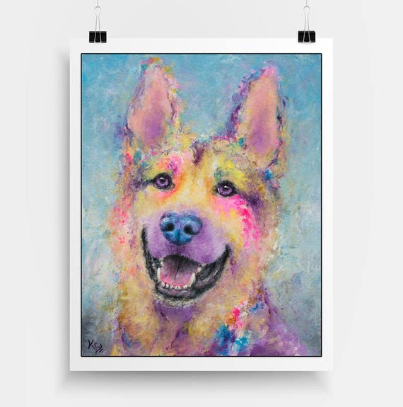 German Shepherd Art Print - Police Dog Art, German Shepherd Gift, German Shephard Print, Dog Art Print. A Unique Dog Owner Gift!