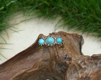 9ct Yellow Gold and Turquoise Ring, Vintage