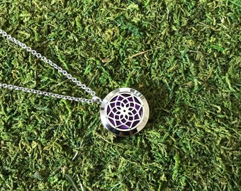 Lotus Flower Stainless Steel Necklace, Diffuser Necklace, Aromatherapy Necklace, Womens, Necklace, Girls Necklace, Lotus Necklace, Flower