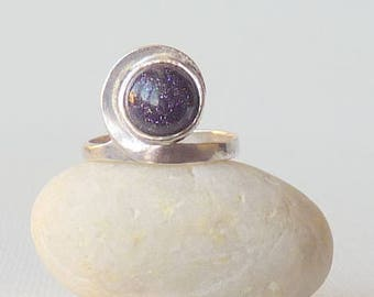 Sterling Silver Blue Goldstone Ring, Blue Stone Sterling Ring, Galaxy  Ring, Charming Ring Size 6, 70's Retro Silver  Modern Round Cabochon