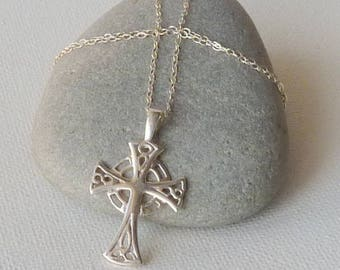 Sterling Silver Celtic Cross Pendant, Chain Necklace, Vintage Religious Necklace, Religious Jewelry, Celtic Style Cross, Irish Made
