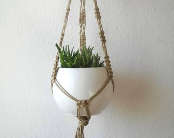 """Twine Macrame plant hanger- 31"""" (80 cm) long -can be made of cotton rope- natural rustic Hanging Planter suitable for indoor or outdoor use"""