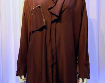 KANSAI O2 Waterfall draping front zip up oversized Postcard Print Blouse Shirt