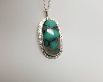 Desert bloom turquoise handstamped 925 sterling silver pendant necklace