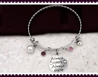 Sister Bracelet, Sister Silver Message Charm Bracelet, Sister friendship Jewelry gift, Womens and Girls Personalized Birthstone Bracelet