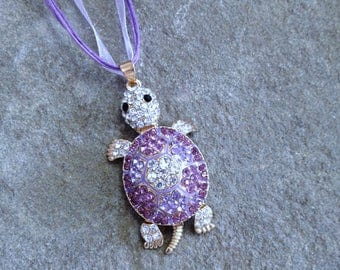 3D Turtle Pendant Necklace Violet Rhinestone Jewelry Nautical Jewelry Designer Style Pendant Articulating Turtle for Fidgeter Fidget Jewelry