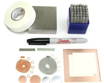 Metal Stamping  Kit - Starter Kit - for Metal Stamping and DIY Jewelry Projects, Jewelry Making Tools & Supplies Beaducation (KIT01)