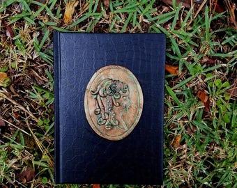medusa journal, skull cameo, creepy cameo, gothic cameo, gothic journal, custom notebook, lined notebook, polymer clay diary, polymer clay